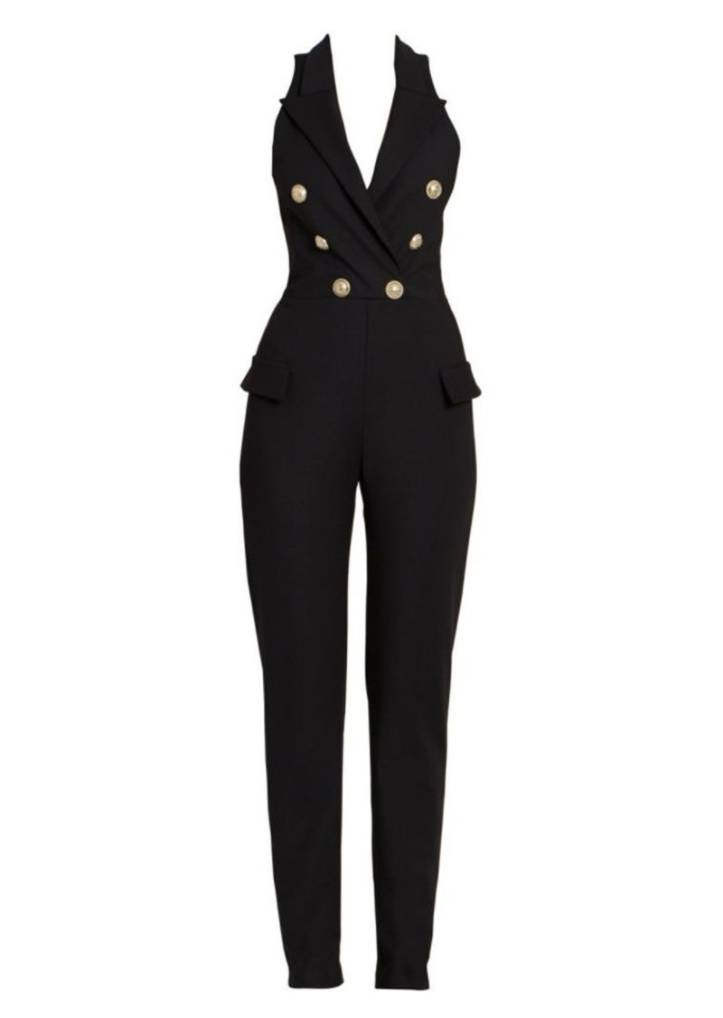 Balmain Sleeveless Double-Breasted Wool-Blend Jumpsuit