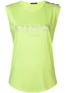 Balmain sleeveless logo top