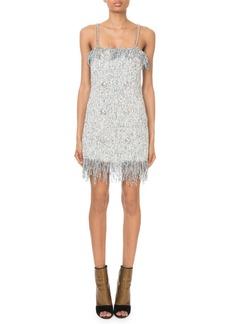 Balmain Sleeveless Sequined-Tweed Chain-Strap Mini Dress