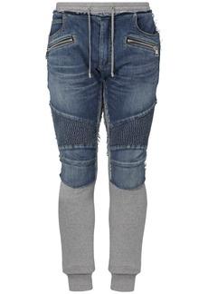 Balmain Slim Cotton Denim & Jersey Jeans