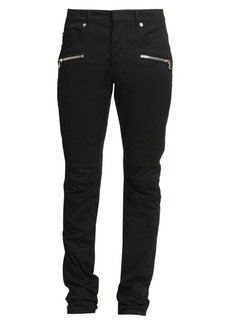 Balmain Slim-Fit Ribbed Moto Chinos