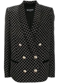 Balmain sparkle-effect double-breasted blazer