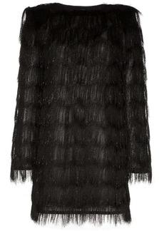 Balmain sparkle fringe long-sleeve mini dress