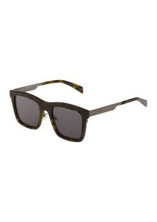 Balmain Square Acetate/Metal Tortoiseshell Sunglasses