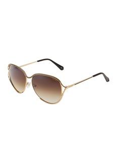 Balmain Square Rimmed Metal Open-Temple Sunglasses