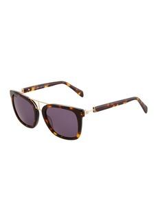 Balmain Square Tortoiseshell Acetate/Metal Sunglasses