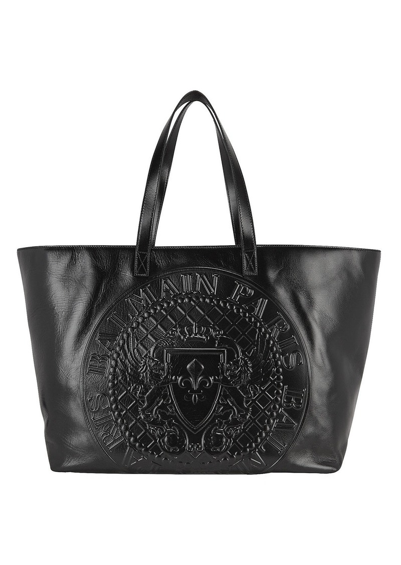 Balmain Stamped Medallion Logo Leather Tote Bag