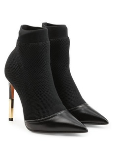 Balmain Stiletto Ankle Boots in Leather and Mesh