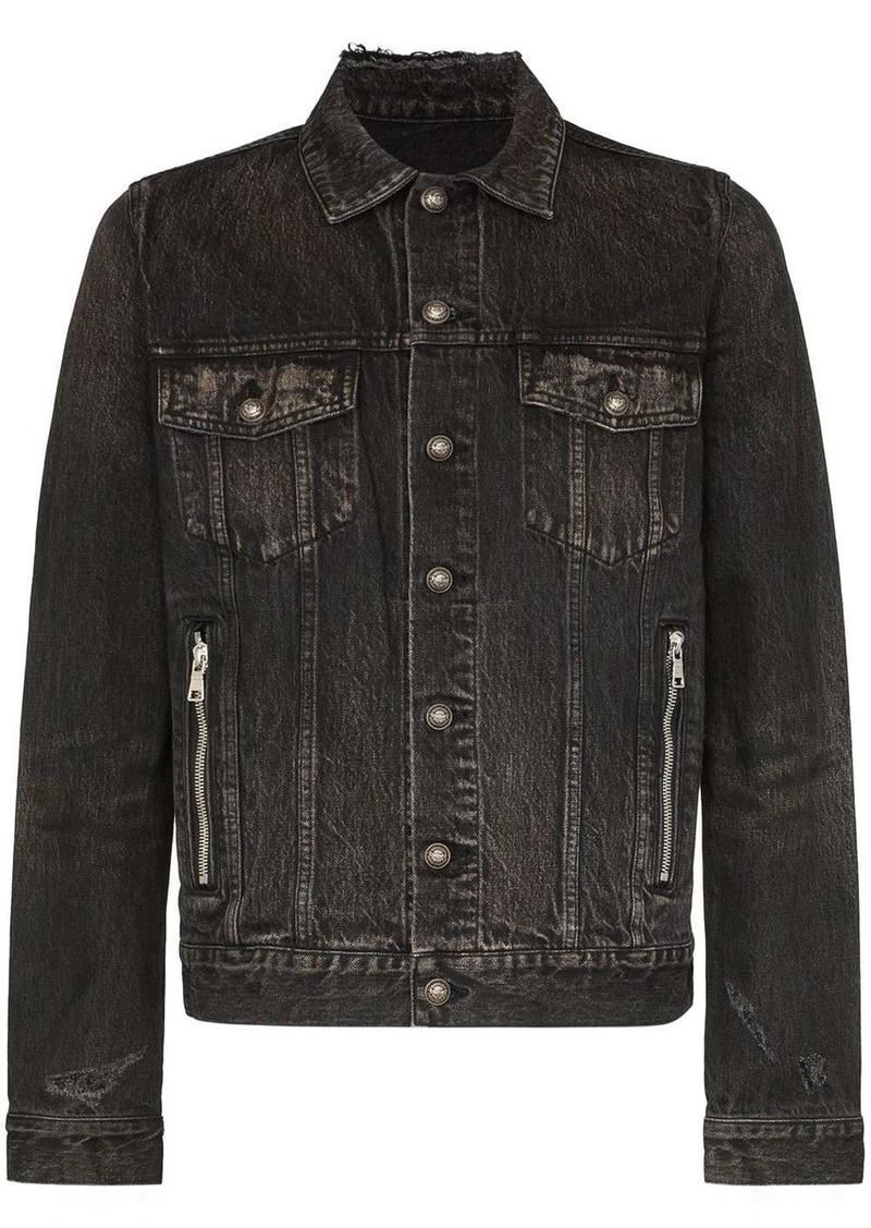 Balmain stone-wash denim logo jacket