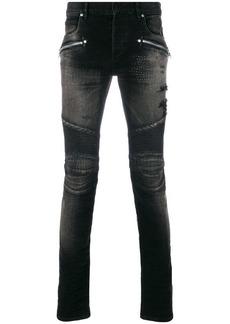 Balmain stonewashed biker skinny jeans