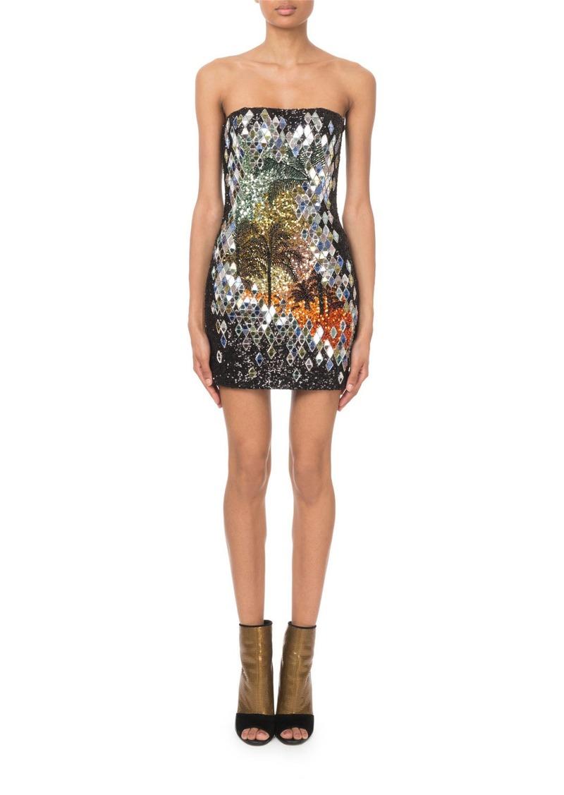 76b5b916 Balmain Strapless Mirror-Sequined Palm-Tree Mini Dress | Dresses