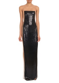 Balmain Strapless Nude Illusion Metal On Tulle Evening Gown