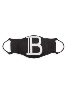 Balmain Stretch-Knit Monogram Face Mask