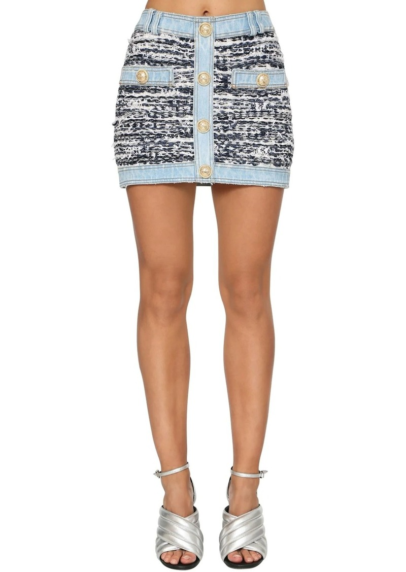 Balmain Stretch Tweed & Denim Mini Skirt