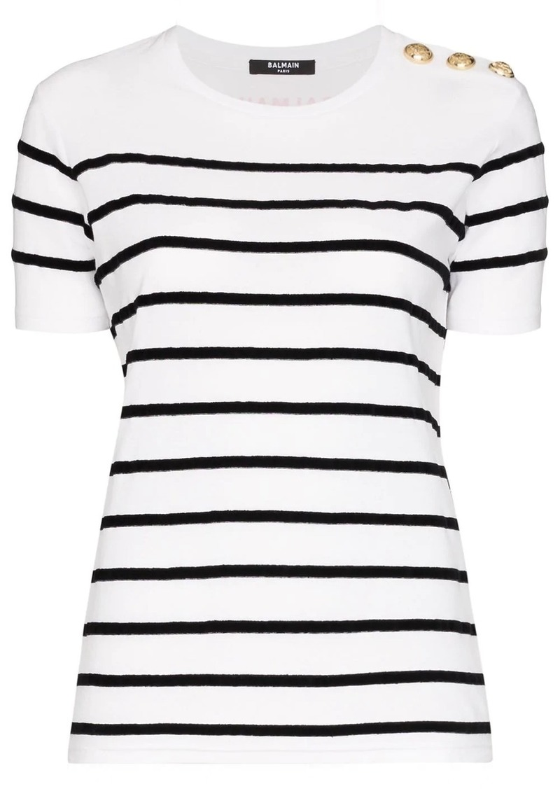 Balmain striped button shoulder T-shirt