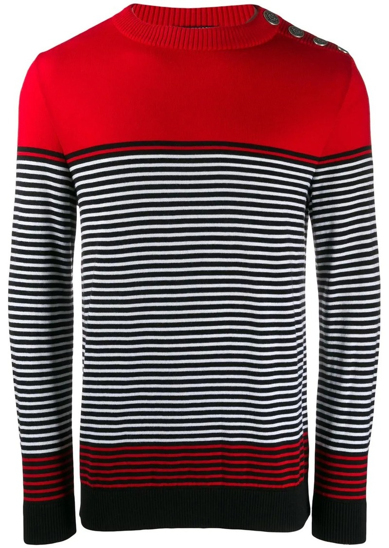 Balmain striped crew neck sweater