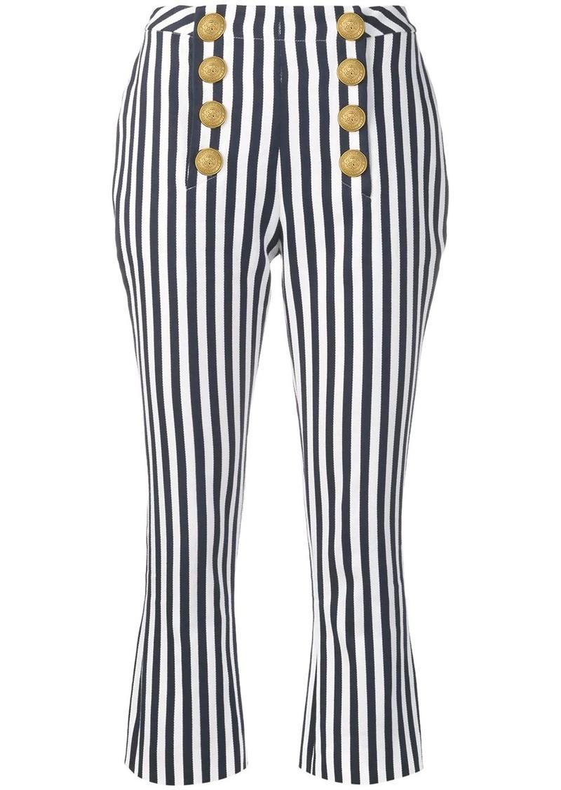 Balmain striped cropped trousers