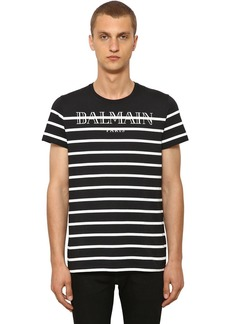 Balmain Striped Logo Cotton Jersey T-shirt