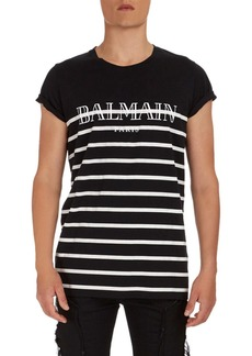 Balmain Striped Logo Graphic T-Shirt