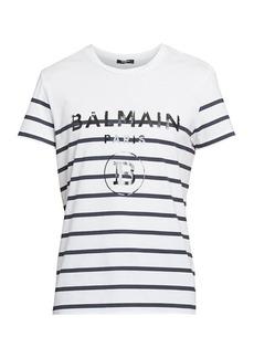 Balmain Striped Logo Graphic Tee