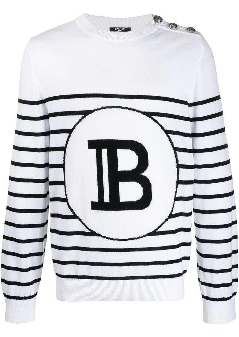 Balmain striped logo jumper