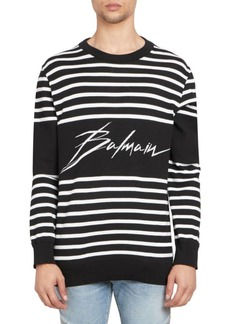 Balmain Striped Logo Sweater