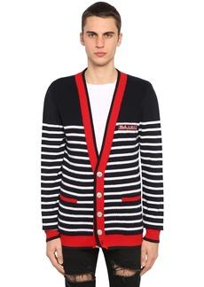 Balmain Striped Logo Virgin Wool Knit Cardigan