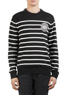 Balmain Striped Patch Crewneck Sweater