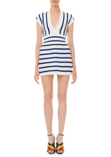 Balmain Striped Pleated-Skirt Mini Dress