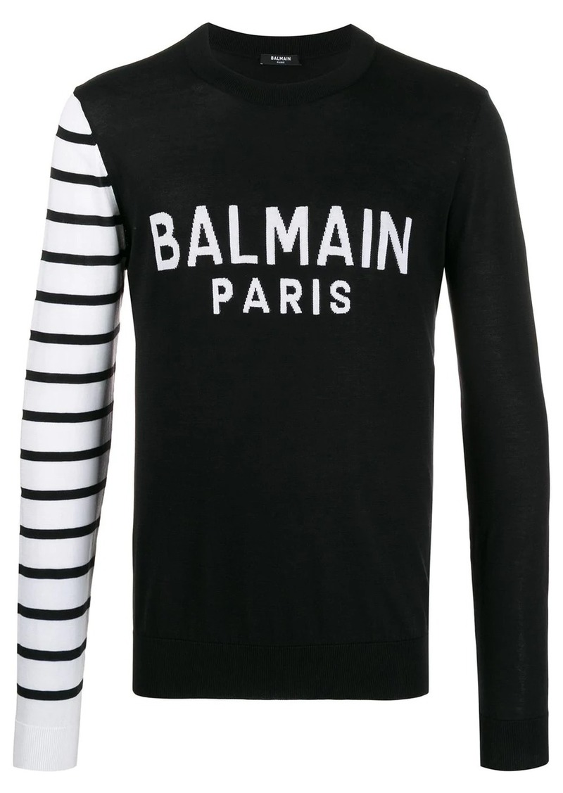 Balmain striped sleeve jumper