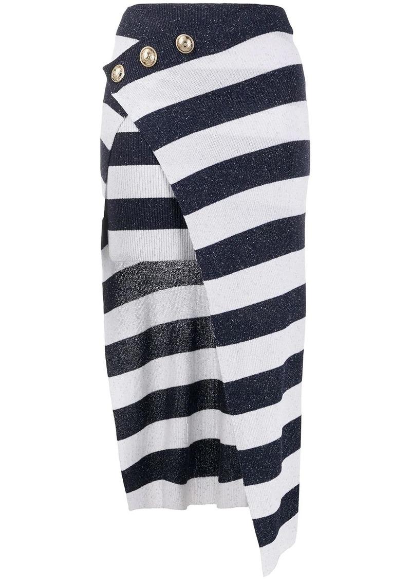 Balmain striped wrap skirt