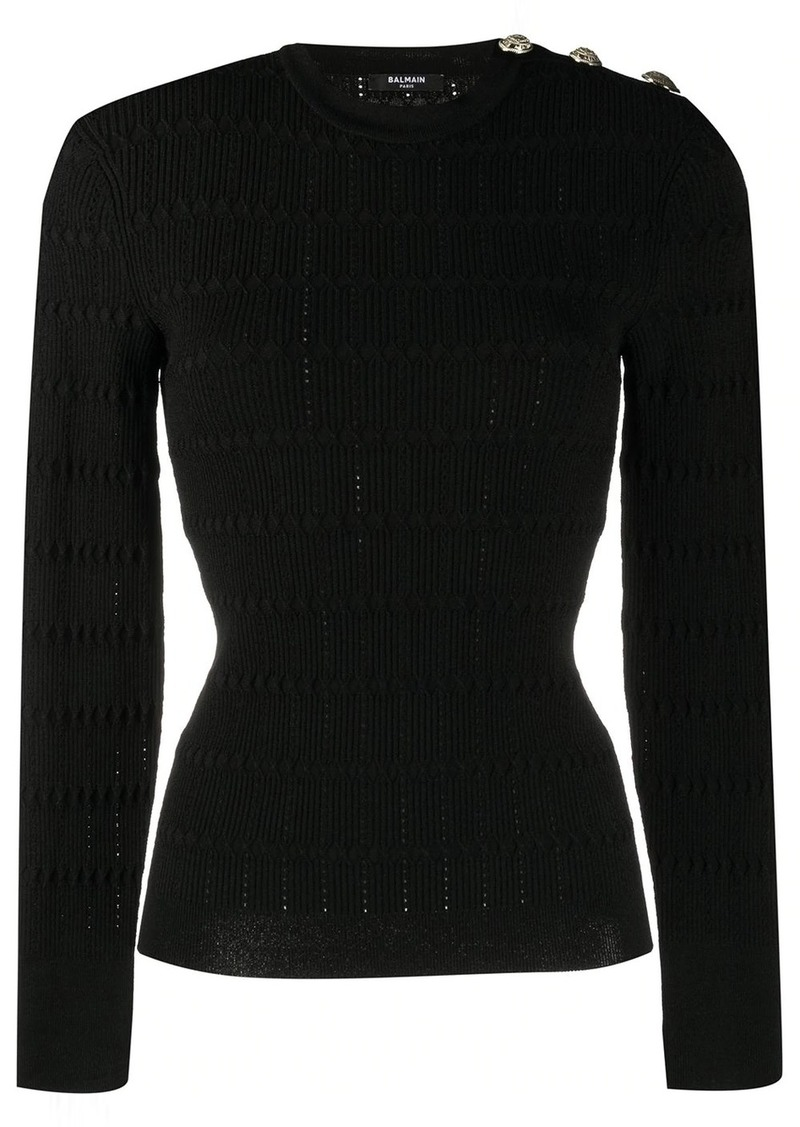 Balmain structured knitted top