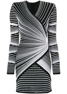 Balmain structured shoulder stitched stripe mini dress