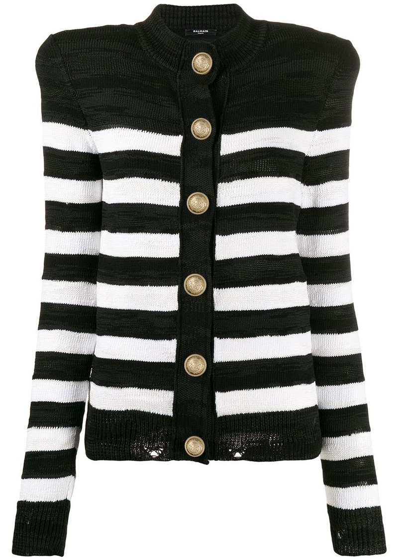 Balmain structured striped cardigan