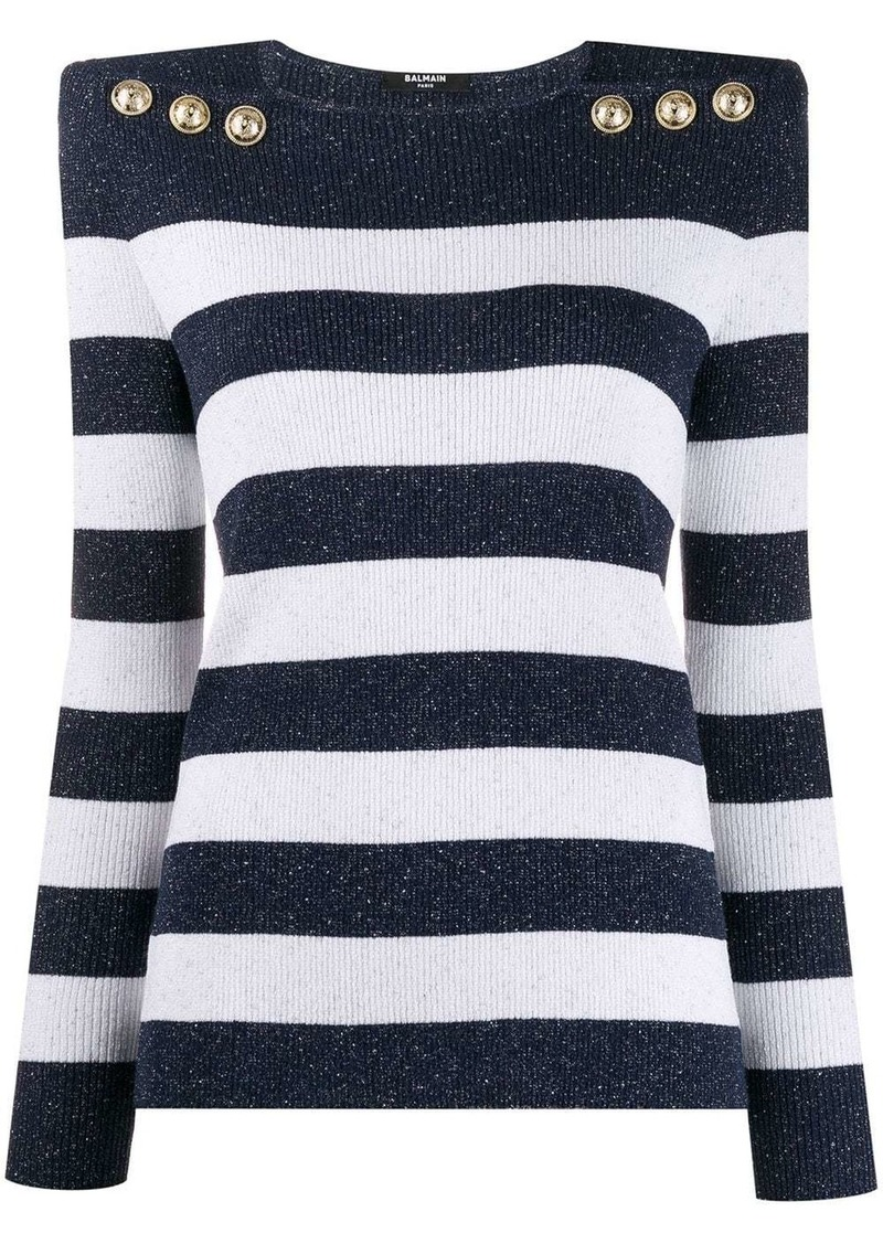 Balmain structured striped jumper