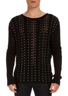 Balmain Studded Stripe Cotton Sweater