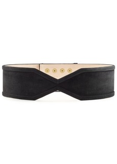 Balmain Suede Belt with Embossed Buttons