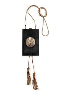 Balmain Suede Crossbody Minaudiere Bag with Tassels