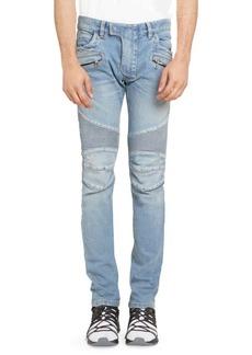 Balmain Tapered Distressed Biker Jeans