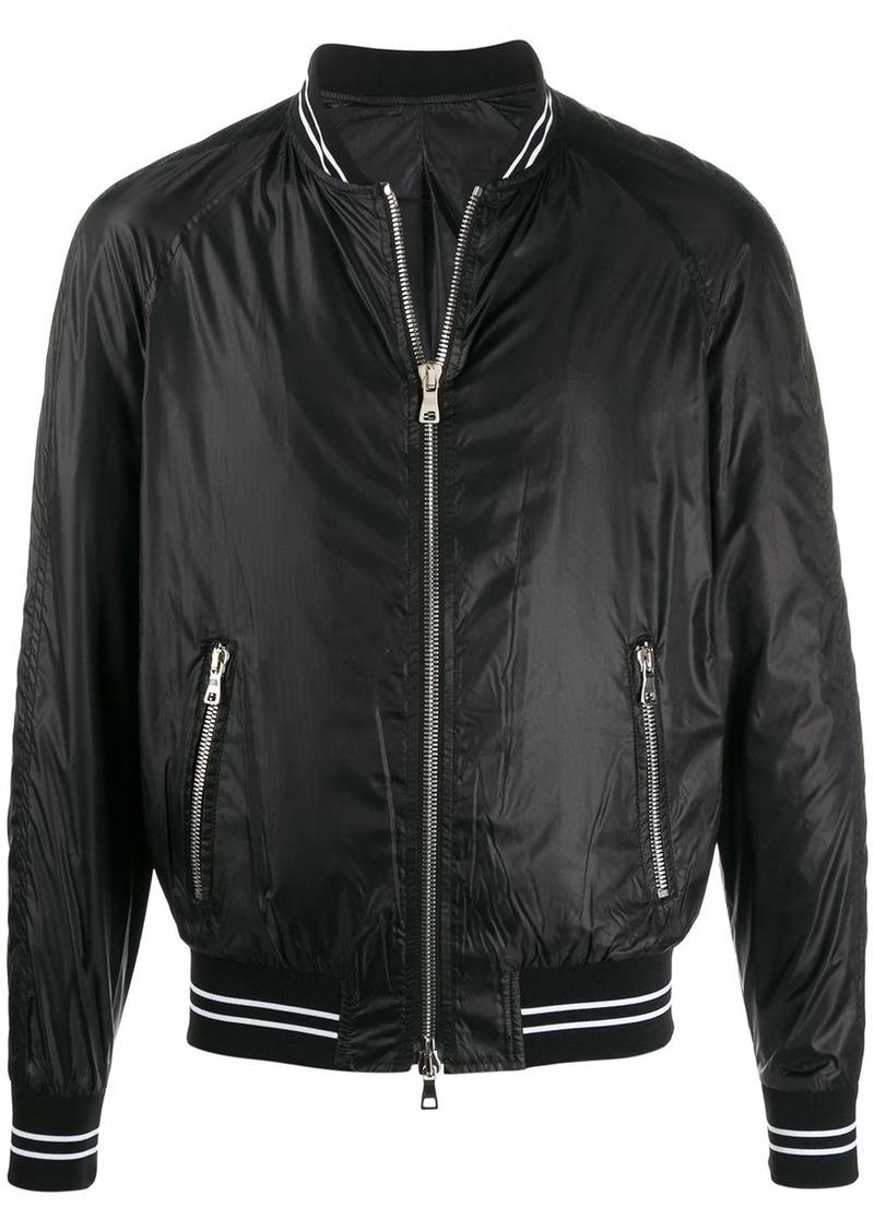 Balmain Teddy logo patch bomber jacket