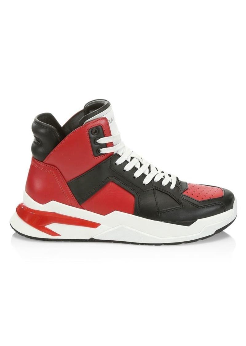 Balmain Troop High-Top Leather Sneakers