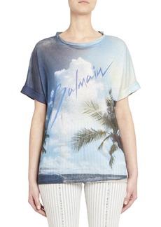 Balmain Tropical Logo Linen Tee
