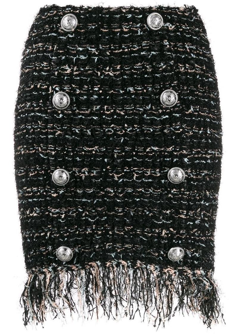 Balmain tweed button-embellished skirt