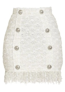 Balmain Tweed Button Mini Skirt