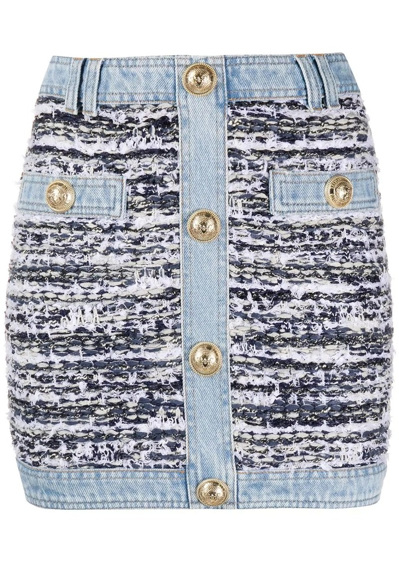 Balmain tweed denim mini skirt
