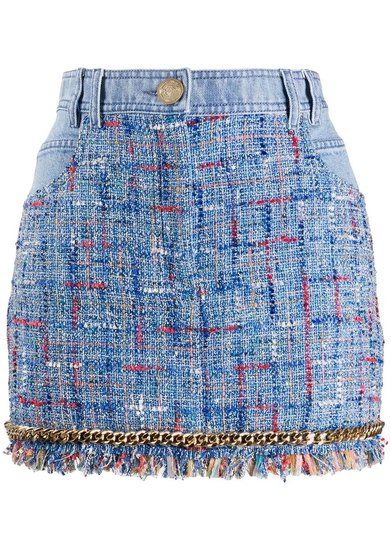 Balmain tweed detail denim skirt