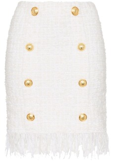 Balmain tweed shredded hem gold tone button skirt