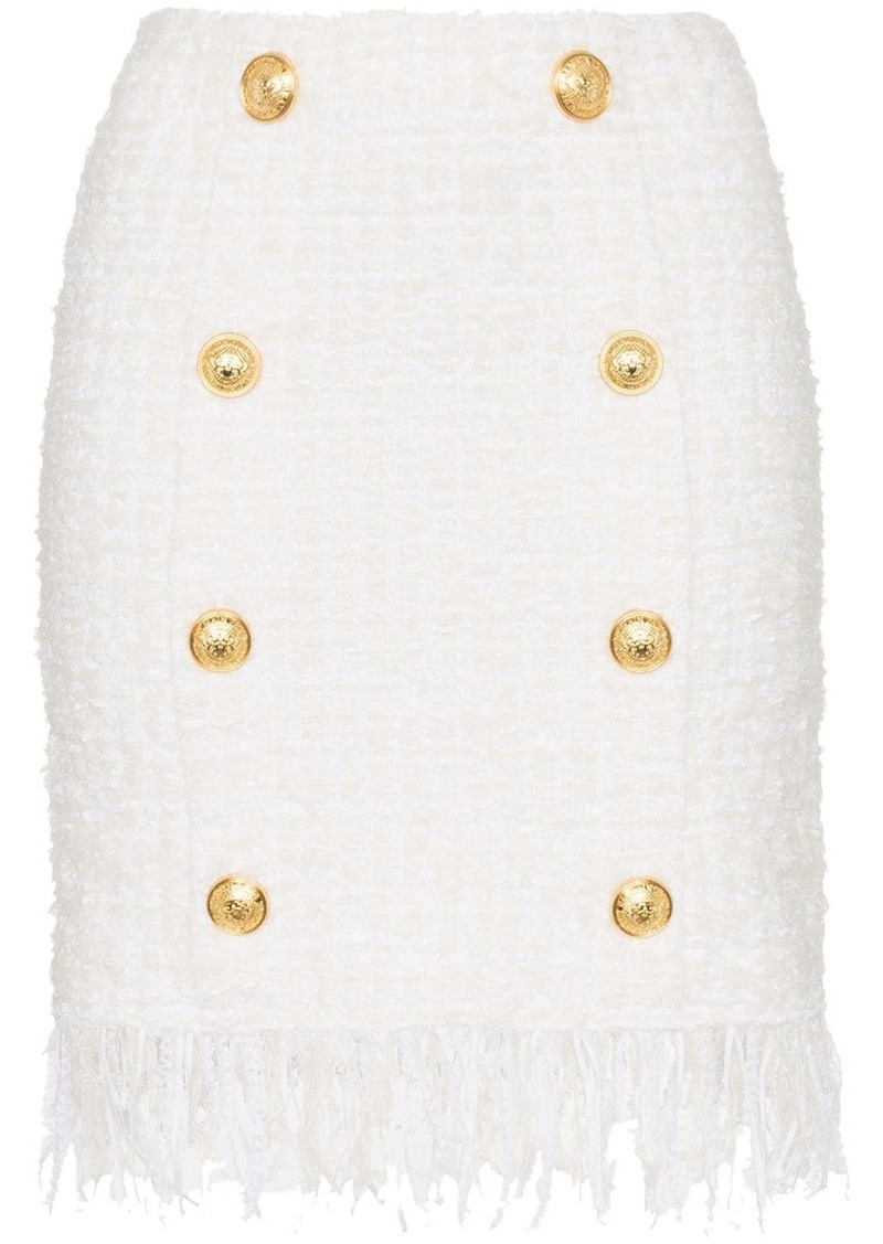 Balmain tweed shredded hem gold tone button skirt