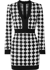 Balmain Two-tone Intarsia-knit Mini Dress