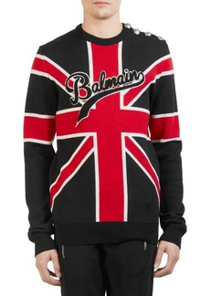 Balmain UK Flag Knit Crewneck Sweater